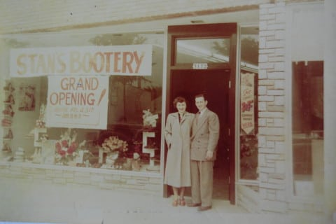 Emerence and Stan Sajdak in front of the original Stan's Bootery.