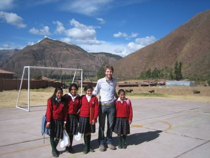 Brian with his students in Peru.