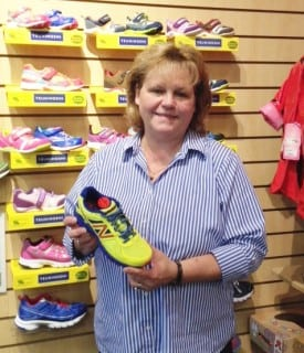 Mary Sue with her favorite kids shoe, the New Balance 860!