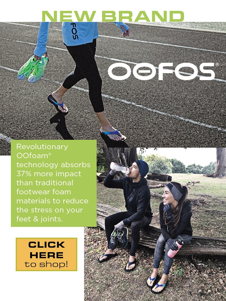 New Brand: Oofos has revolutionary Oofoam technology that absorbs 37% more impact than traditional footwear foam materials to reduce the stress. on your feet and joints.