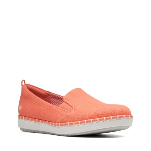 f1302a5f4d Clarks Step Glow Slip-On Coral Canvas - Stan's Fit For Your Feet