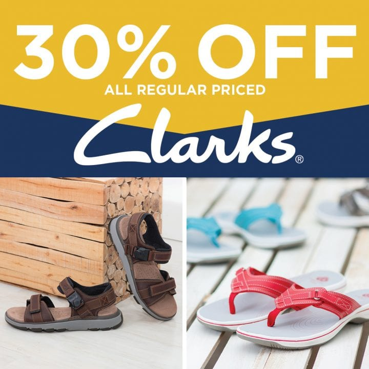30% off all regular priced Clarks