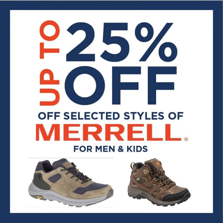 Up to 25 % off selected Merrell for Men & Kids!