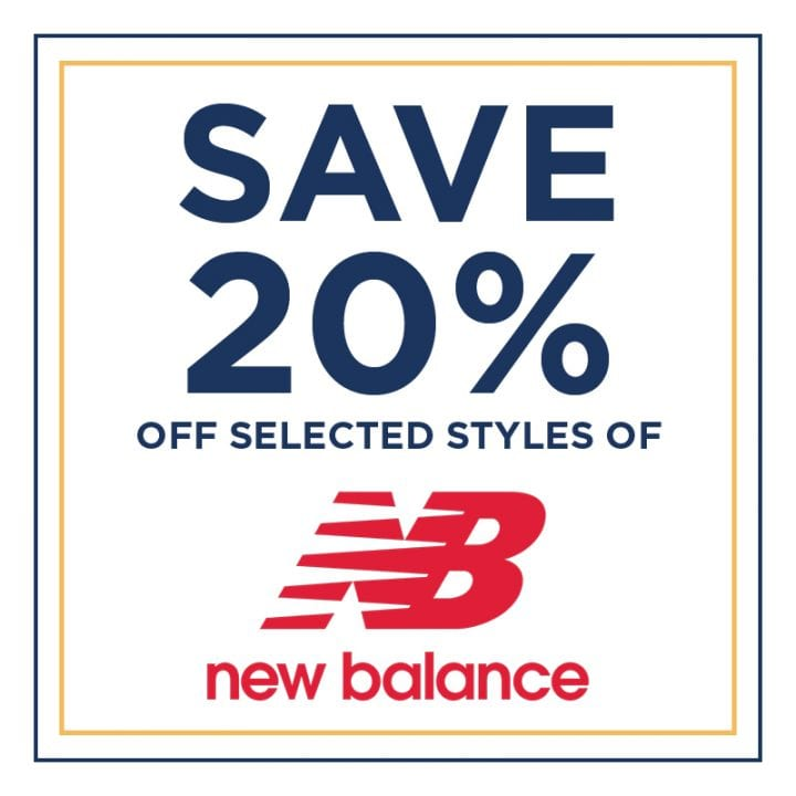 Save 20% Off Selected New Balance Styles!