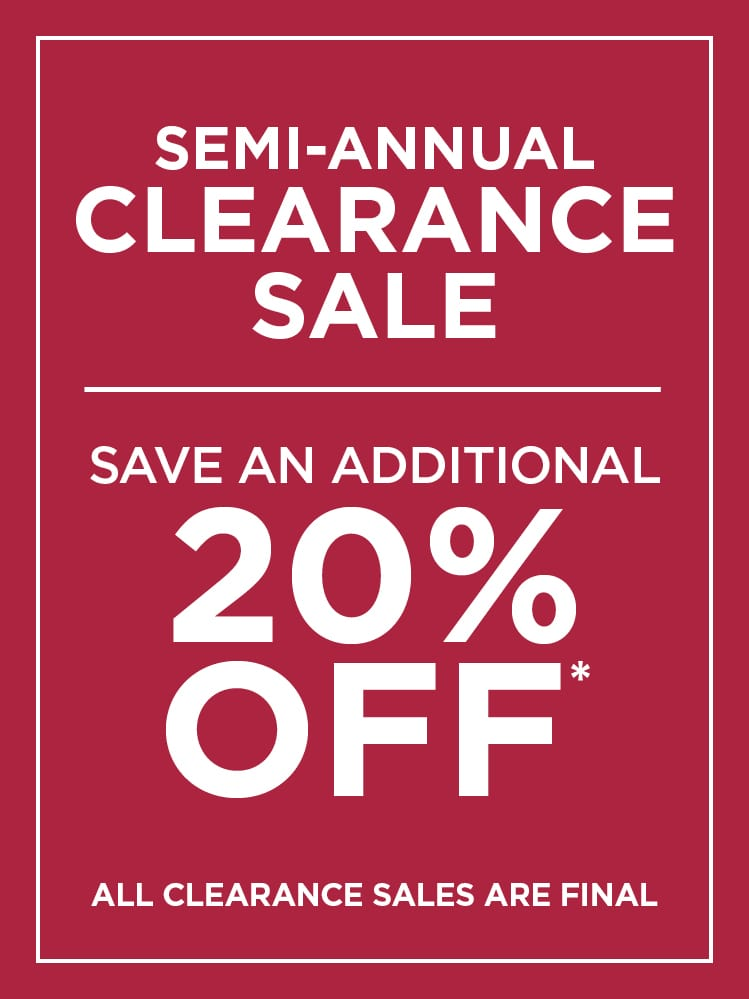 Save Additional 20% off Clearance Sale
