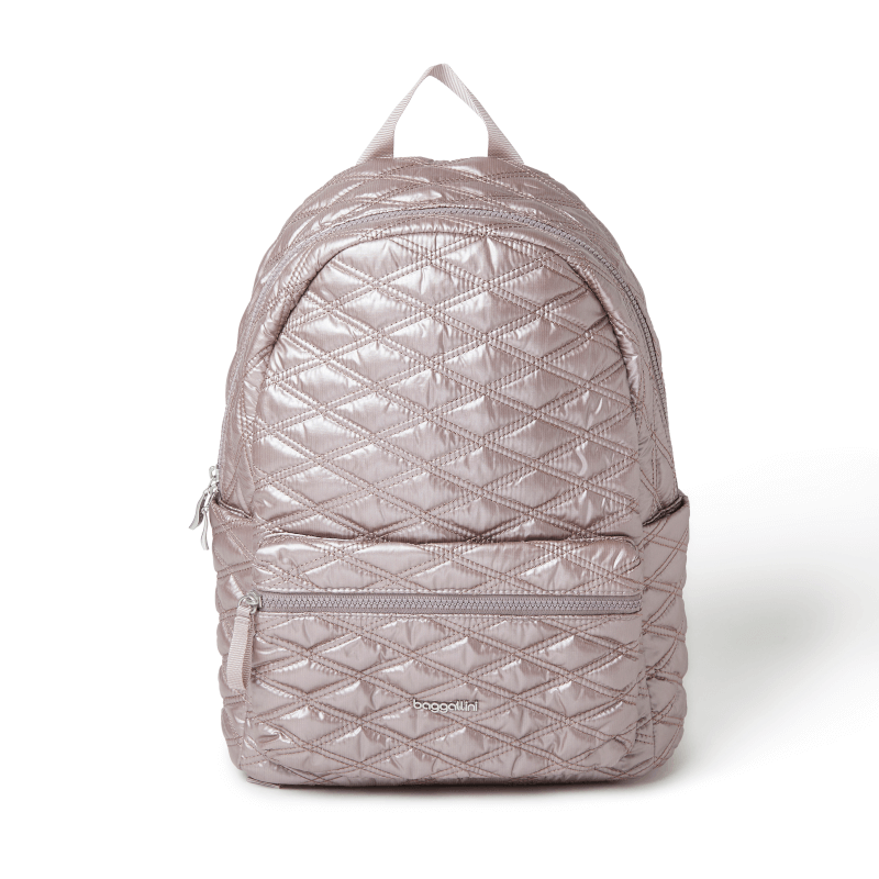Baggallini Quilted Backpack Rose Metallic Main