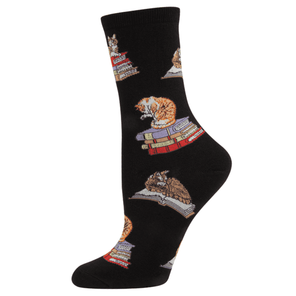 Socksmith Cat on Books Black Main