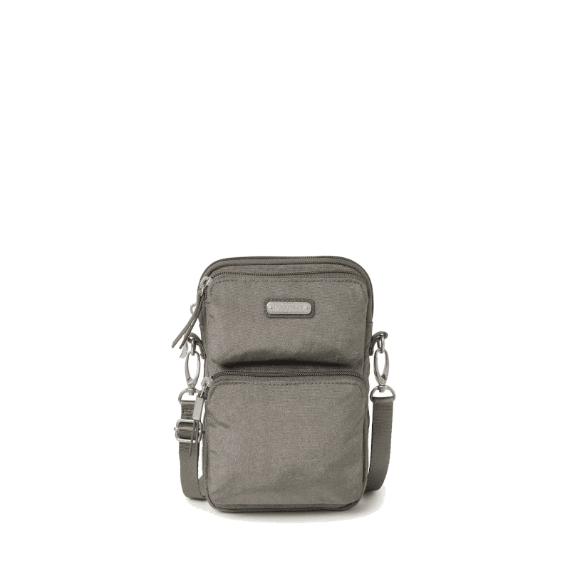Baggallini Touch Screen Mini Crossbody Sterling Shimmer Front-min
