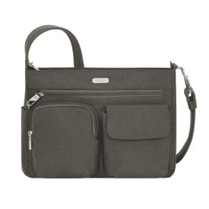 Travelon Essentials Pocket Crossbody Smoke Front min