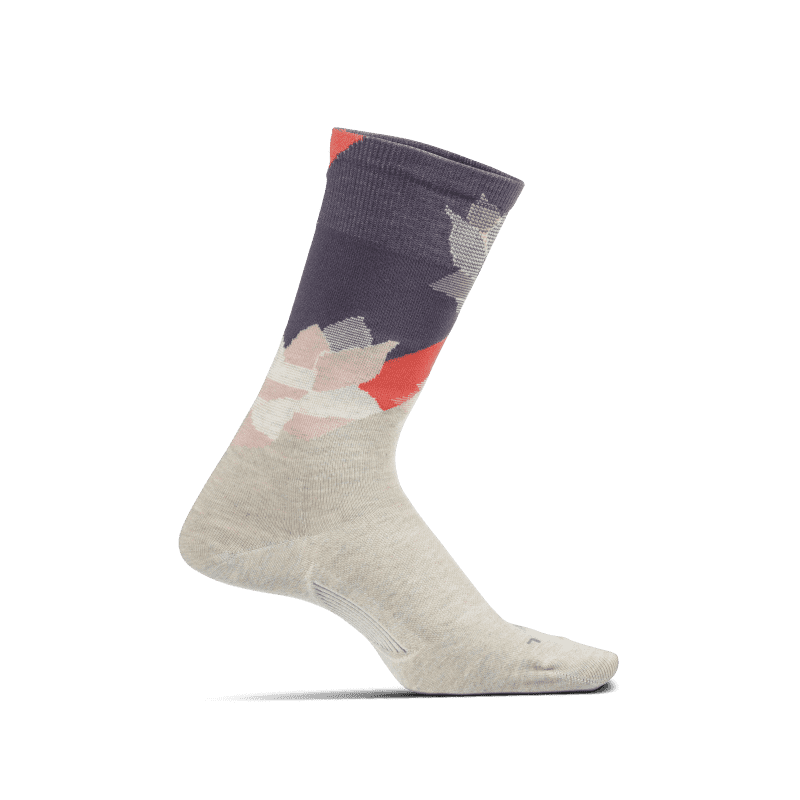 Feetures Neo Floral Ultra Light Crew Oatmeal-min