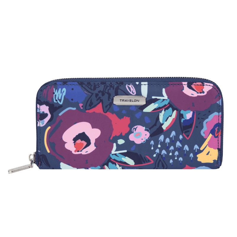 Travelon RFID Single Zip Wallet Mod Floral Main-min