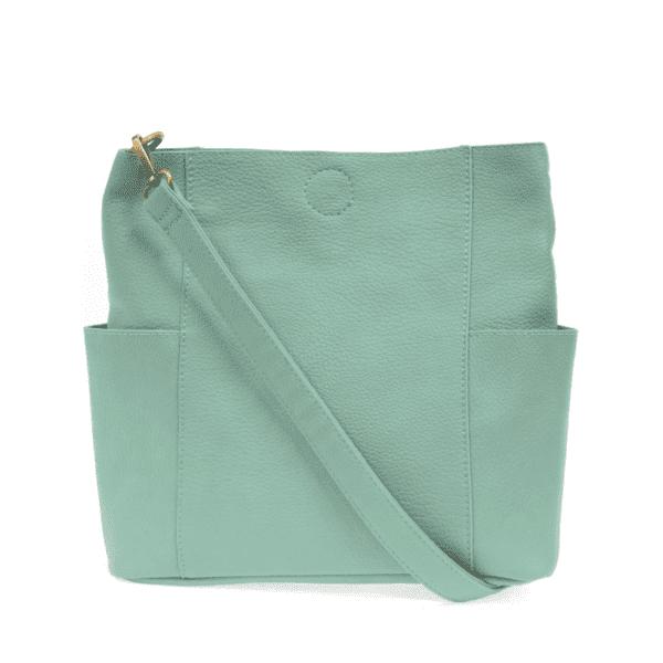 Joy Susan Kayleigh Side Pocket Bucket Bag Turquoise Back with strap min