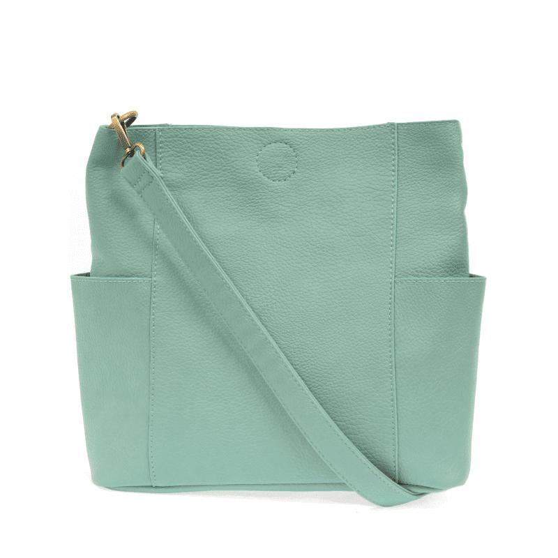 Joy Susan Kayleigh Side Pocket Bucket Bag Turquoise Back with strap-min