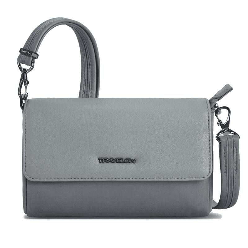 Travelon Addison Convertible Belt Bag Grey Front-min