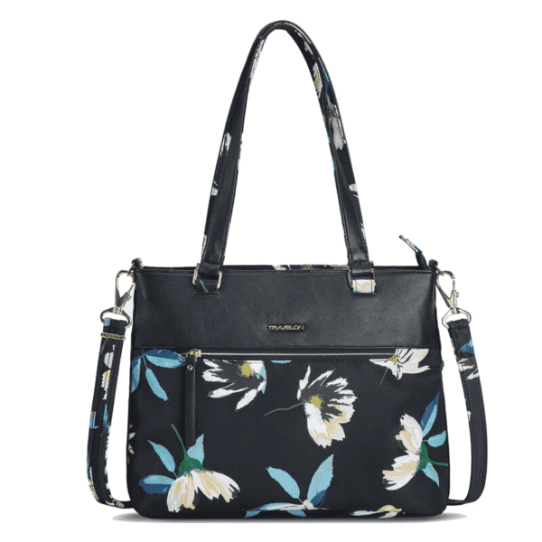 Travelon Addison Tote Bag Midnight Floral Front min