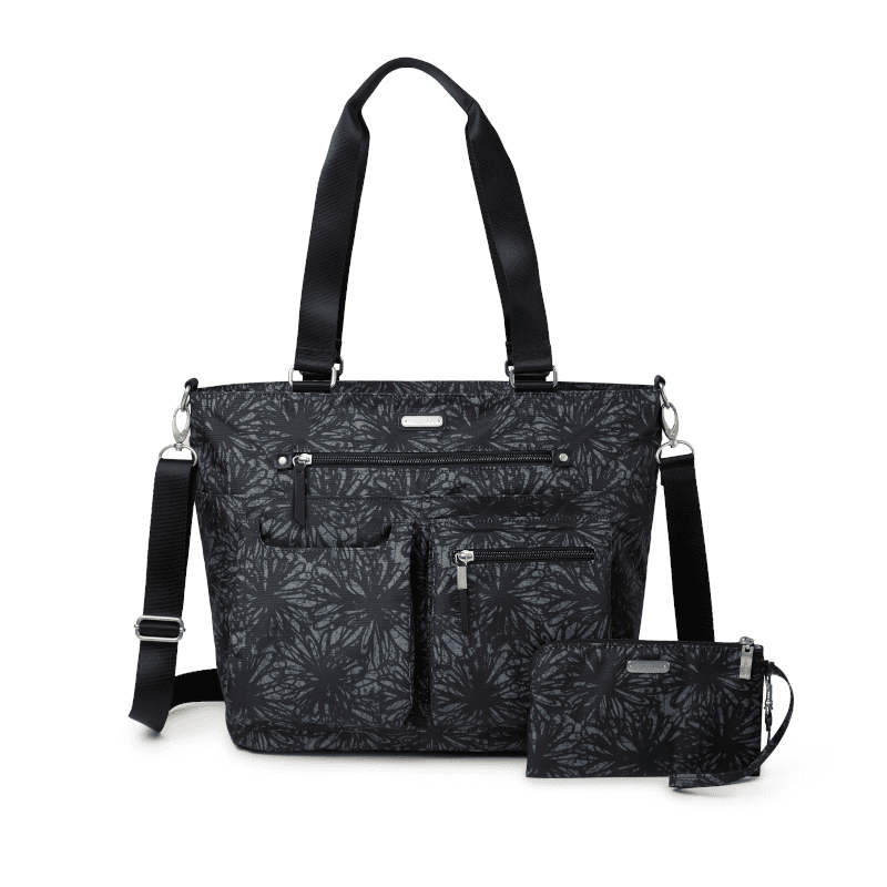 Baggallini Any Date Tote Onyx Floral Front-min