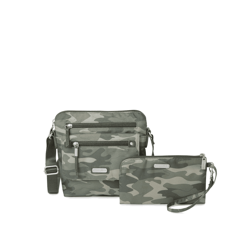 Baggallini Excape Crossbody with Wristlet Olive Camo Front-min