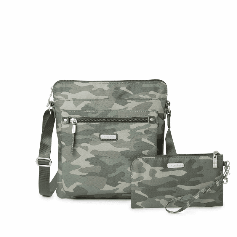 Baggallini Go Bagg With Wristlet Olive Camo Front-min