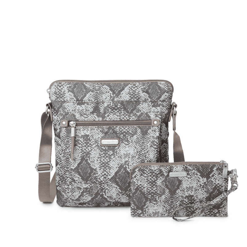 Baggallini Go Bagg with Wristlet Tan Python Front-min