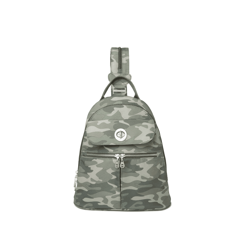 Baggallini Naples Convertible Backpack Olive Camo Front-min