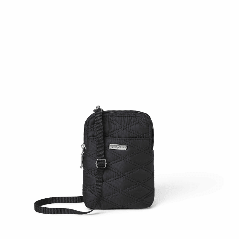 Baggallini Take Two Bryant Crossbody Black Quilt Front-min