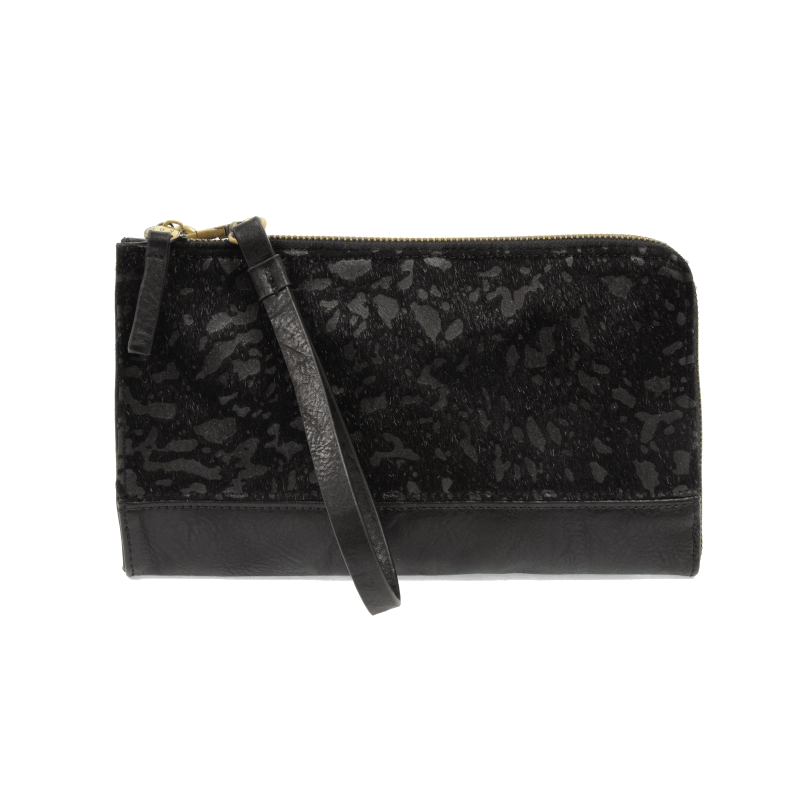 Joy Susan Faux Fur Wristlet and Wallet Abstract Black Strap Showing