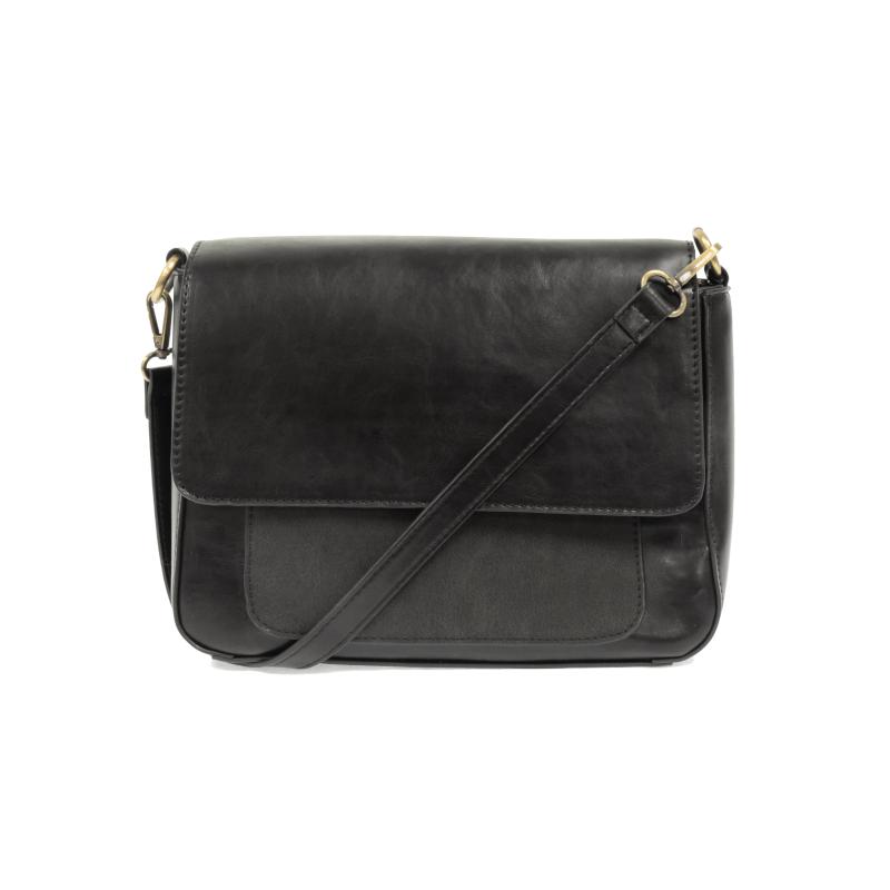 Joy Susan Lexi Shoulder Bag with Faux Suede Trim Black Front